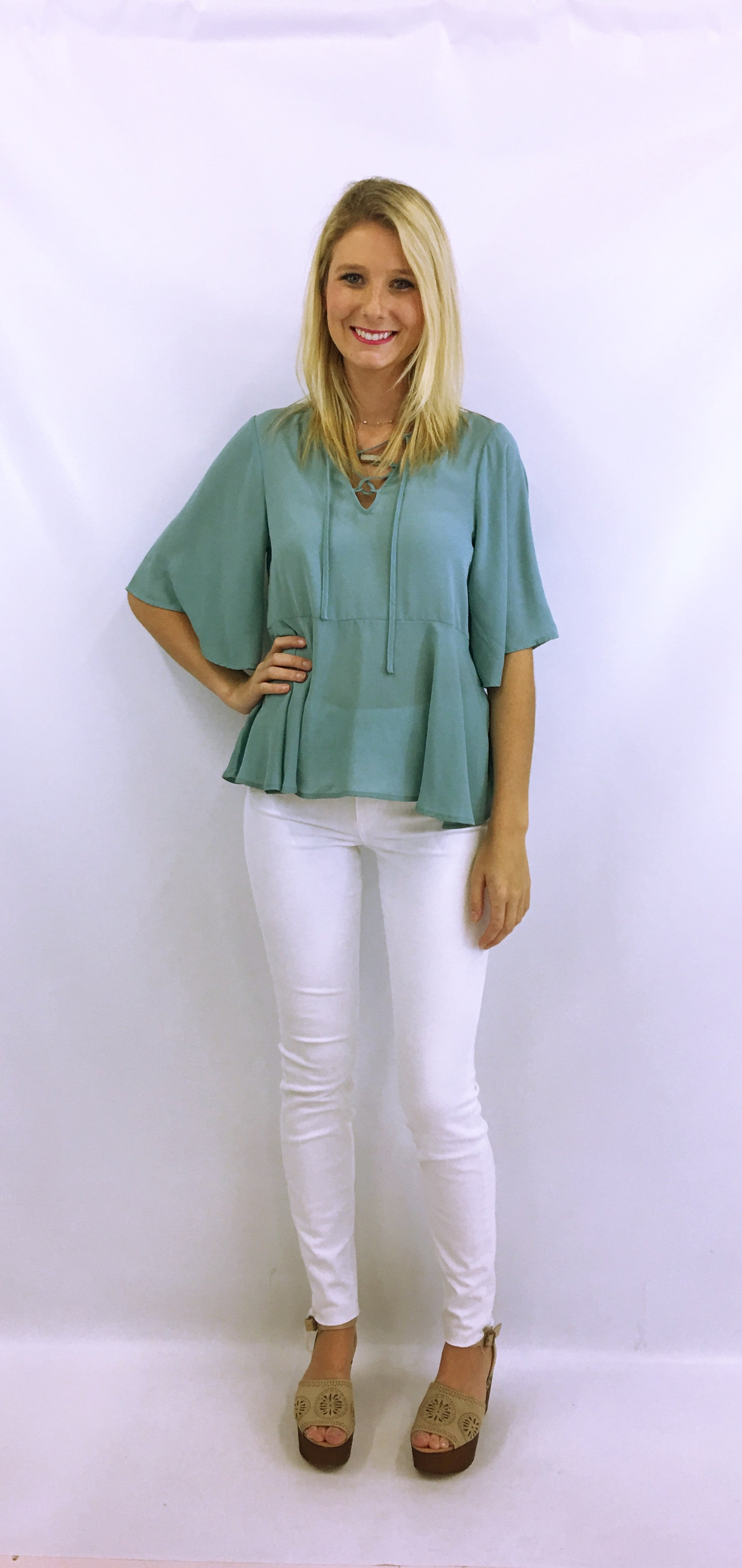Lace Up Front Blue Blouse