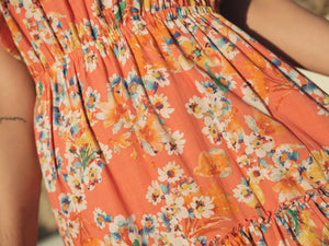 Inka Multiflower Orange - Cotton Voile