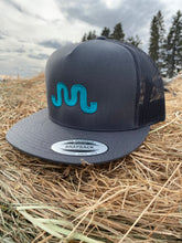 Load image into Gallery viewer, Teal Brand on Grey SnapBack Hat