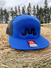 Load image into Gallery viewer, Black on Blue Flat Bill SnapBack Hat