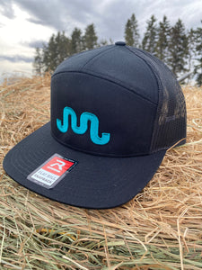 Teal on Black Flat Bill SnapBack Hat
