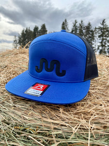 Black on Blue Flat Bill SnapBack Hat
