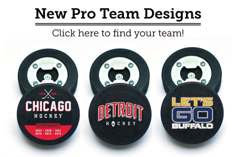 pro hockey team puck bottle opener designs