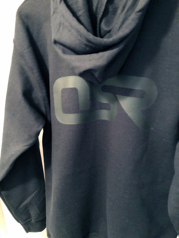 OSR Logo Full-Zip Hoodie: Black on Black
