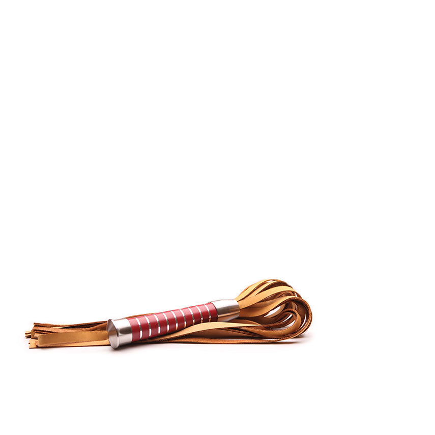 "Bido Flogger 22"" Nubuck Tan Leather Red Handle"