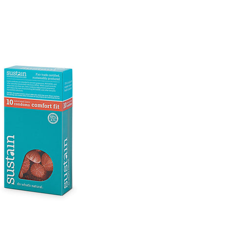 Sustain Lubricated Comfort Fit Condoms - 10 Pack