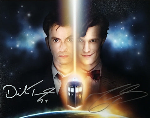 Official David Tennant & Matt Smith signed Doctor Who 11x14 Photo *Super Rare*