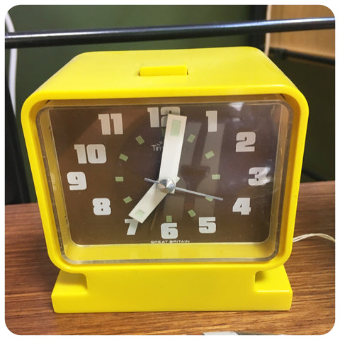 Bright yellow alarm clock from the 1970s