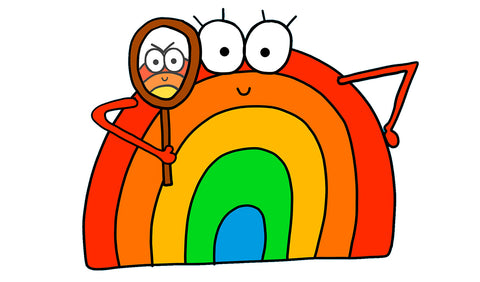 Cheerful rainbow character holding a mirror up smiling