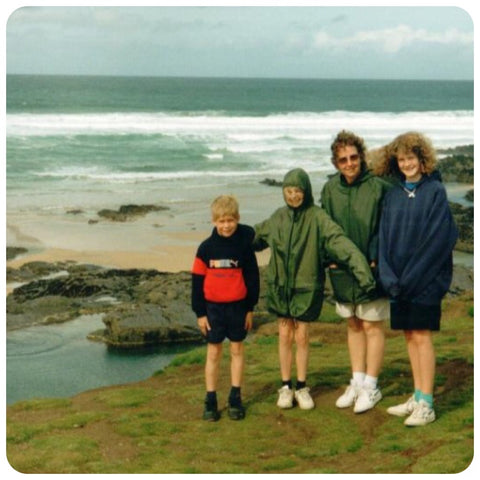 Family photo from 90s in the rain in Cornwall