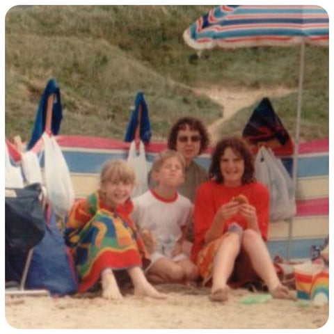 family on the beach in the 90s