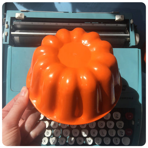 Bright orange jelly mould from the 1970s