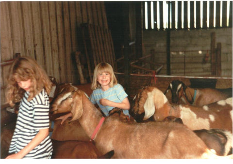 Jennie as a child with her favourite goat, Calico