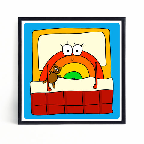 Bedtime | Brian the Rainbow | Mini Print - Jennie Sergeant Designs