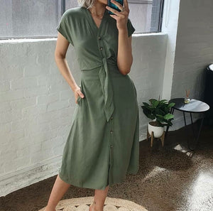 Ava Basic Tie Waist Dress Khaki