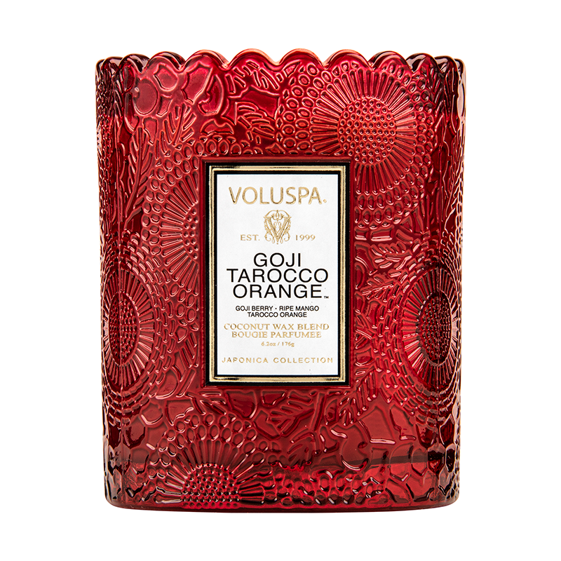 Goji Tarocco Scalloped Edge Candle