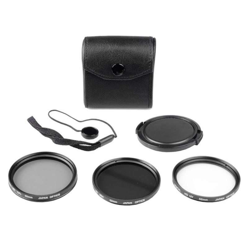 Kit de 3 Filtros Bower 82mm (UV, CPL Y DN) Con Tapa y Sujetador VFK82MM