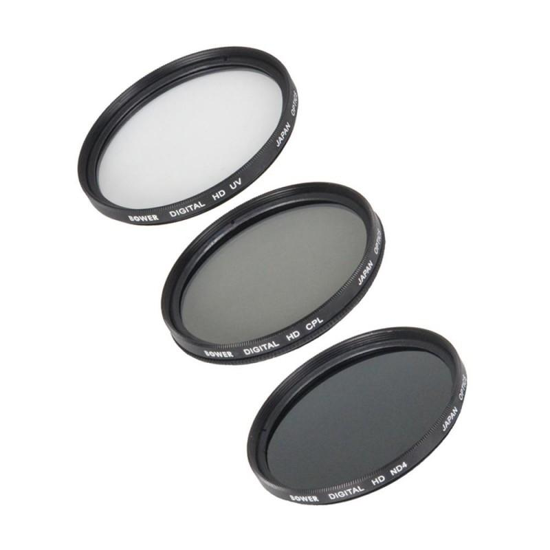 Kit de 3 Filtros Bower 58mm (UV, CPL Y DN) Con Tapa y Sujetador VFK58MM