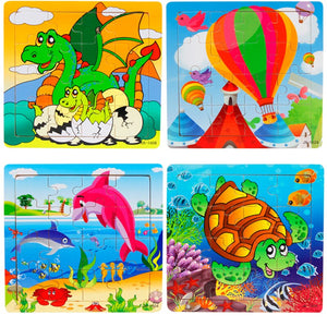 Wooden 3D Puzzles Cartoon Animal And Vehicle Educational Learning Toy Puzzles