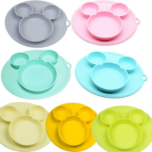 Baby / Kids Cartoon Dinnerware Food-grade Silica Gel Plate Bowl & Silicone Bibs
