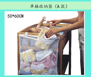 50*60cm Practical Large Solid Hanging Fix On baby Crib Organizer Storage Bag