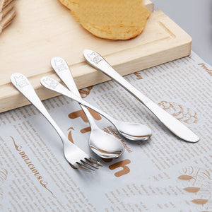 4pcs/set Baby Kids Learning Eating Habit High Quality Stainless Steel Dishes Utensils Set