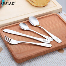 Load image into Gallery viewer, 4pcs/set Baby Kids Learning Eating Habit High Quality Stainless Steel Dishes Utensils Set