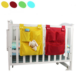 Multilayers Baby Cotton Crib Organizer Toy Diaper Pocket 45*35cm Bed Hanging Storage Bag