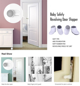 2pcs/set Baby Prevent Door Injuries Safety Finger Pinch Guard Luxury Rotating Door Stoppers