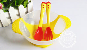 Baby Dinnerware Temperature Sensing Feeding Spoon Tableware Food Bowl Service Set