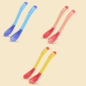 2pcs/set Newborn Baby Safety Temperature Sensing Silicon Feeding Spoons