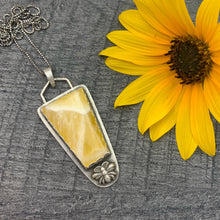 Load image into Gallery viewer, Large Honey Comb Calcite and Bumble Bee Sterling Silver Pendant