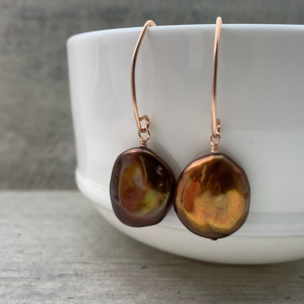 Large Brown Keshi Pearl Earrings with 14k Rose Gold Fill