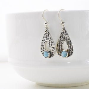 Genuine Larimar Earrings. Larimar and Silver Drop Earrings