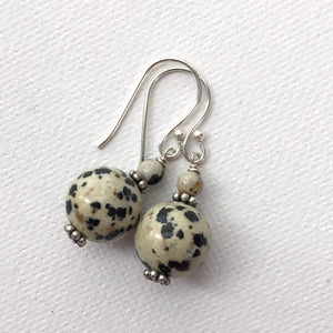 Dalmatian Jasper and Sterling Silver Earrings