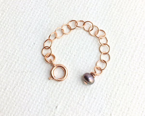Custom Jewelry Extender in 14k Rose Gold Fill with Freshwater Pearl Charm. Choose your size. Works Great for Layered Necklaces, Bracelets
