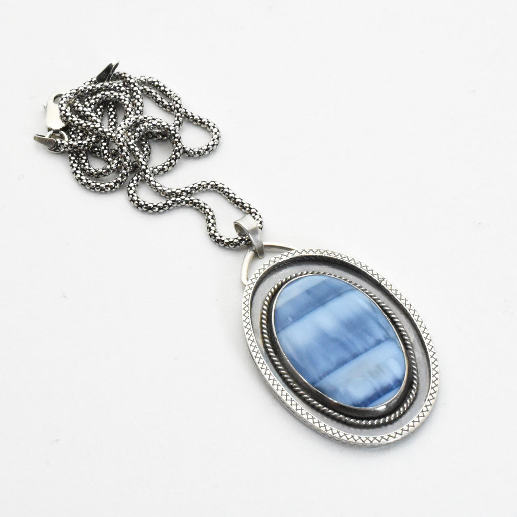 Owyhee Blue Opal and Sterling Silver Pendant Necklace