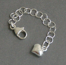 Load image into Gallery viewer, Sterling Silver Necklace Extender with Heart Charm. Choose Your Size
