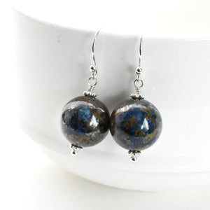Shattuckite and Sterling Silver Earrings