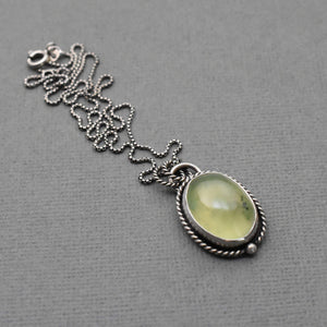 Dendritic Prehnite and Sterling Silver Necklace