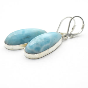 Large Larimar Drop and Sterling Silver Lever Back Earrings