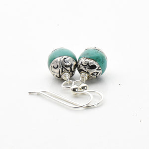 Tibetan Turquoise and Sterling Silver Earrings