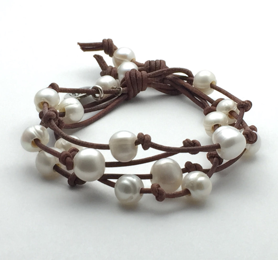 Multi-Strand Leather Pearl Bracelet with Lotus Flower Charm