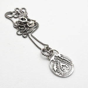 Stamped Silver Paisley Charm Layering Necklace