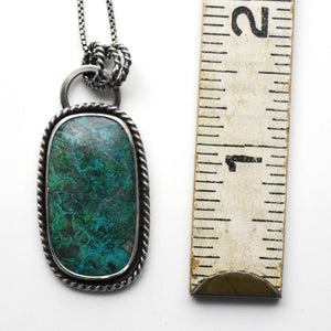 Chrysocolla Necklace. Double-Sided with Saguaro Cactus Cutout on back
