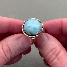 Load and play video in Gallery viewer, Larimar and Solid 925 Sterling Silver Ring. Mermaid Ring Size 9.25 US