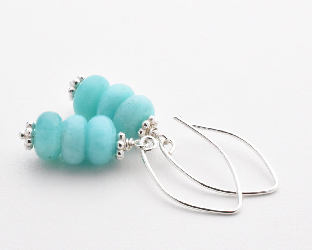 Peruvian Amazonite and Solid 925 Sterling Silver Earrings