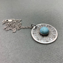 Load image into Gallery viewer, Larimar Medallion Pendant Necklace