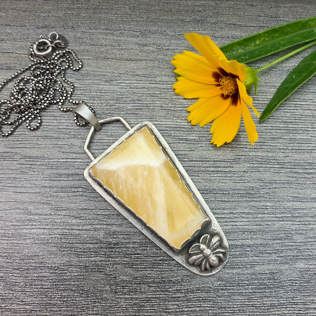 Large Honey Comb Calcite and Bumble Bee Sterling Silver Pendant