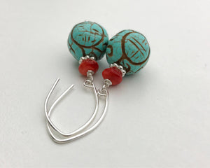 Carved Turquoise Earrings with Spiny Oyster and Solid 925 Sterling Silver